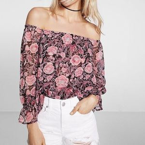 EXPRESS Floral Off The Shoulder Abbreviated Blouse